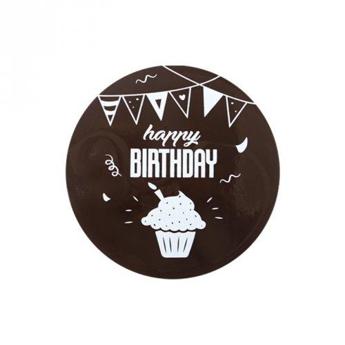 1 Disque Happy Birthday (12 cm) - Chocolat au lait