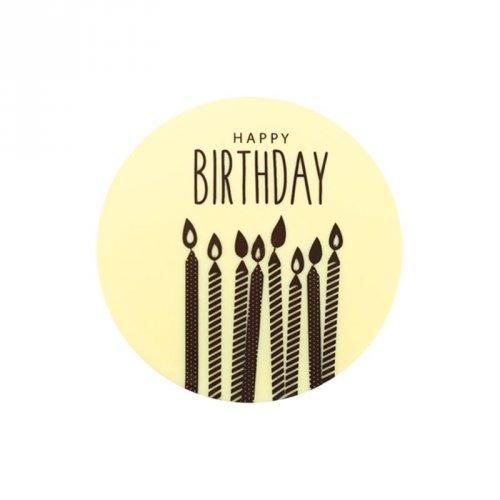 1 Mini Disque Happy Birthday (5 cm) - Chocolat blanc
