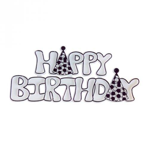 Plaquette Happy Birthday Violet (9 cm) - Plastique
