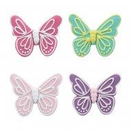4 Grands Papillons 2D (5,5 cm) - Sucre
