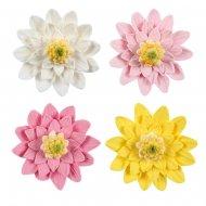 4 Fleurs Dhalias 4 Couleurs (4,5 cm) - Non comestible