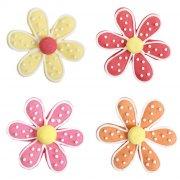 4 Fleurs Boutons 2D (4,5 cm) - Sucre