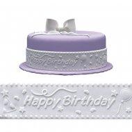 Ruban Happy Birthday Blanc (5 m) - Sucre