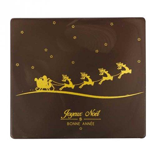 2 Embouts de Bûche Carrés Traineau Noël/An - Chocolat Noir