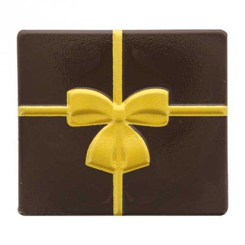 2 Embouts de Bûche Carrés Noeud Or - Chocolat Noir