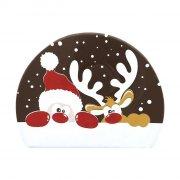 2 Embouts de Bûche Renne et Père Noël - Chocolat Noir
