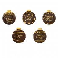 5 Médaillons Boules Joyeuses Fêtes (3,8 cm) - Chocolat Noir