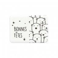 2 Mini Plaquettes Ours Blanc Bonnes Fêtes (4 cm) - Chocolat Blanc