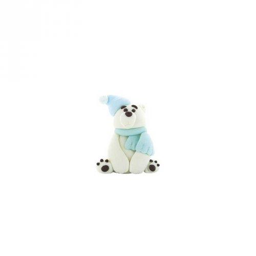 1 Ours Polaire Bleu 3D (4,5 cm) - Sucre