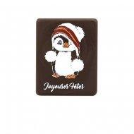 1 Plaquette Joyeuses Fêtes Pingouin (5 cm) - Chocolat Noir