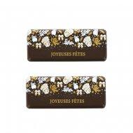 2 Plaquettes Joyeuses Fêtes Noël Fantaisie (5,5 cm) - Chocolat Noir