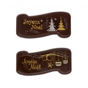 2 Plaquettes Joyeux Noël Boules/Sapins (5,5 cm) - Chocolat
