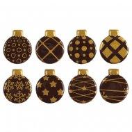 8 Boules de Noël Féérie à plat (2,5 cm) - Chocolat Noir