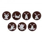 7 Médaillons Lapin (3 cm) - Chocolat