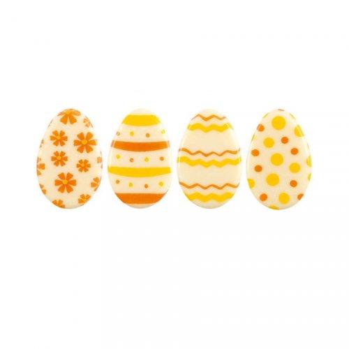 5 Mini Oeufs de Pâques Jaune/Orange à plat (3 cm) - Chocolat Blanc