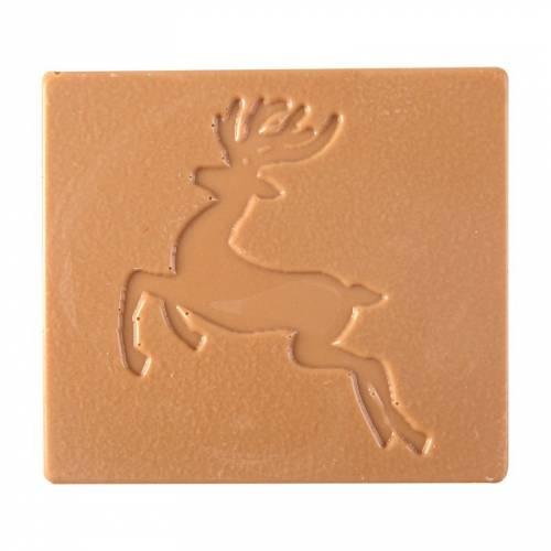 2 Embouts de Bûche Renne Relief - Chocolat Caramel