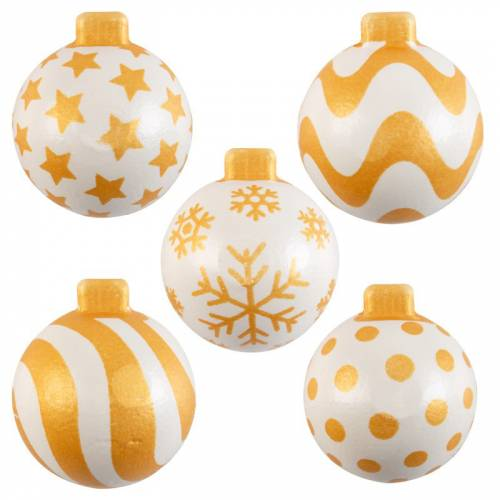 4 Demis Boules de Noël Or/Blanc - Chocolat Blanc