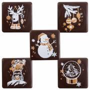5 Petites Plaquettes Noël Or (3 cm) - Chocolat Noir