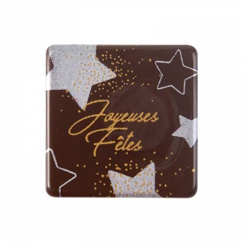 5 Petites Plaquettes Joyeuses Fêtes Or/Argent (3 cm) - Chocolat Noir