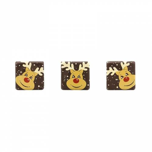 5 Petites Plaquettes Renne  (3 cm) - Chocolat Noir