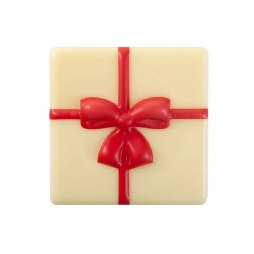 1 Grande Plaquette Cadeau Noeud Rouge  (5 cm) - Chocolat Blanc