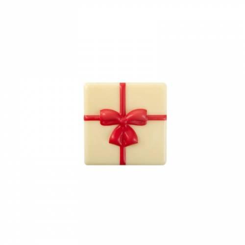 1 Plaquette Cadeau Noeud Rouge  (4 cm) - Chocolat Blanc