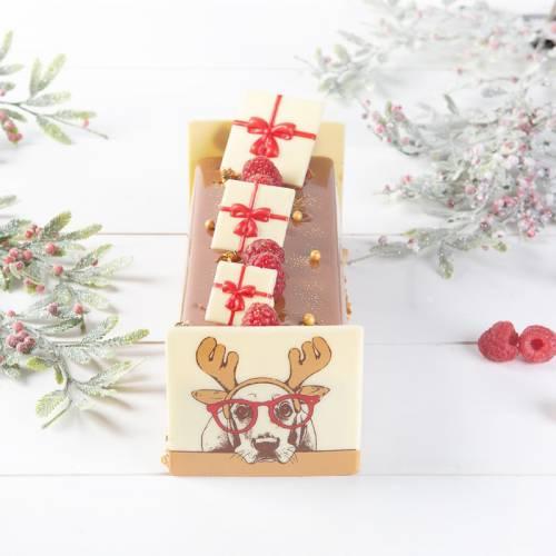 2 Petites Plaquettes Cadeau Noeud Rouge  (3 cm) - Chocolat Blanc
