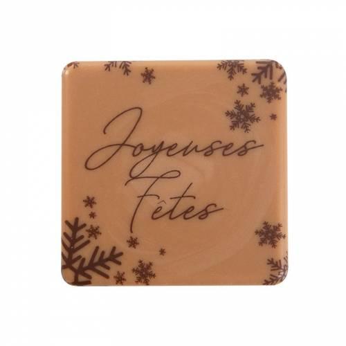 2 Petites Plaquettes Joyeux Fêtes (3,8 cm) - Caramel