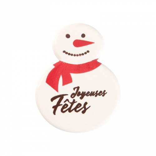 2 Plaquettes Bonhomme de Neige (3,8 cm) - Chocolat Blanc