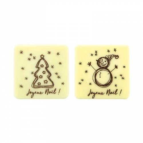 2 Petites Plaquettes Joyeux Noël (3,8 cm) - Chocolat Blanc