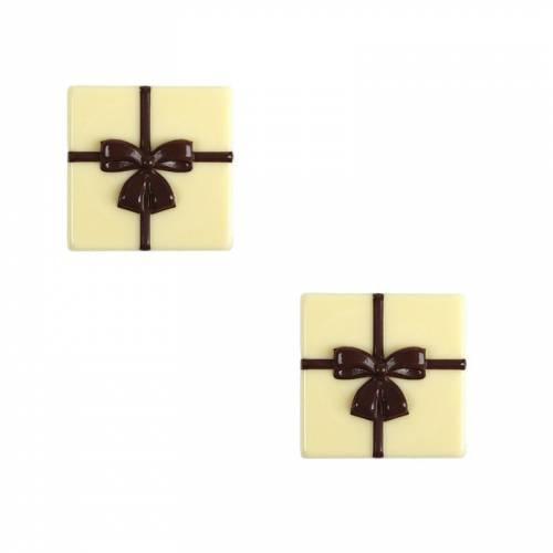 2 Petites Plaquettes Cadeau Noeud  (3 cm) - Chocolat Blanc