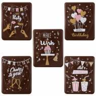 5 Plaquettes Happy Birthday  (5 cm) - Chocolat Noir