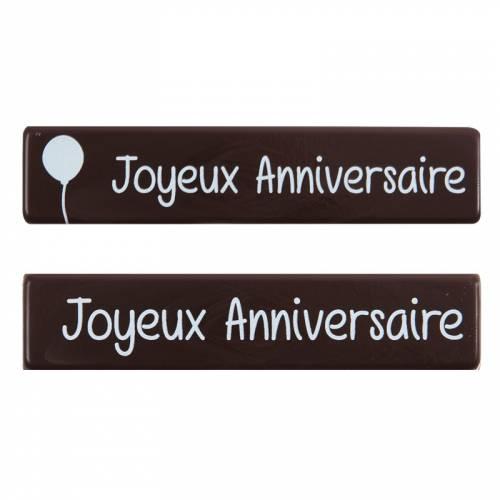 2 Plaquettes Joyeux Anniversaire (9 cm) - Chocolat Noir