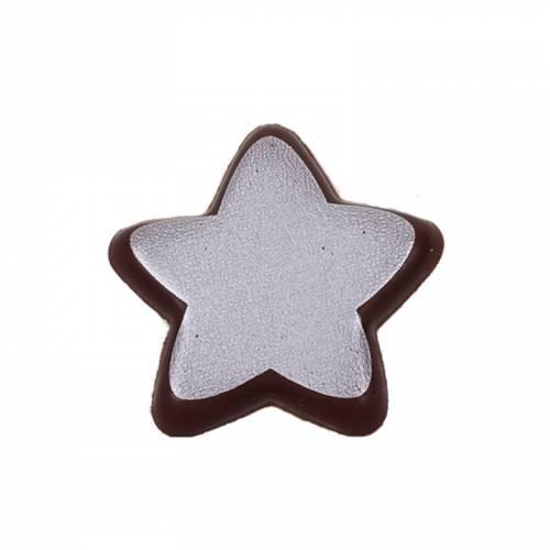 4 Etoiles Argent (3 cm) - Chocolat Noir