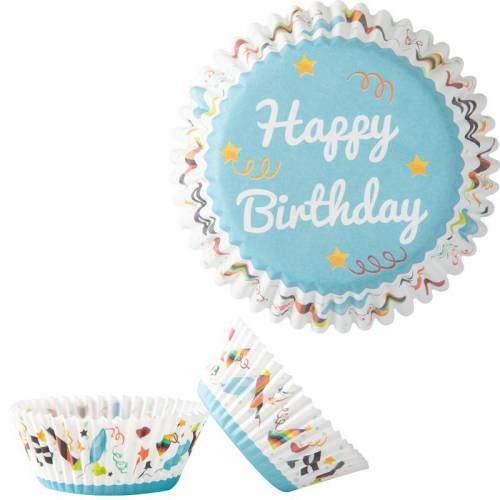 50 Caissettes à Cupcakes - Happy Birthday