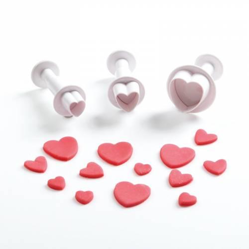 3 Emporte-pièces Poussoirs Coeur