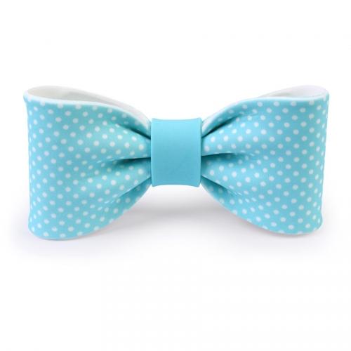 Grand Noeud Papillon Bleu à Pois 10 cm - Sucre