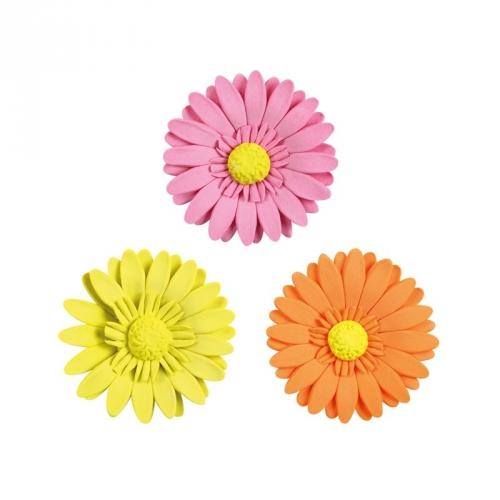 3 Fleurs Gerbera Jaune, Rose, Orange 4,7 cm - Sucre