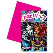 6 Invitations Monster High Friends