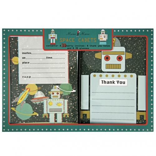 Kit invitations et remerciements 3D Robot Espace