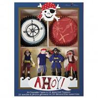 Contient : 1 x Kit 24 Caissettes et Déco à Cupcakes Pirate Smile