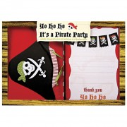 Kit 12 Invitations et Remerciements Pirate YO