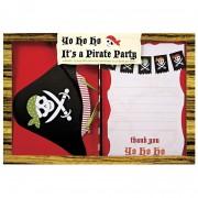 Kit 12 Invitations et Remerciements Pirate YO