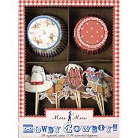 Contient : 1 x Kit 24 Caissettes et Déco à Cupcakes Cowboy Party
