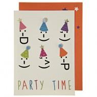 1 Carte d'Anniversaire Party Faces
