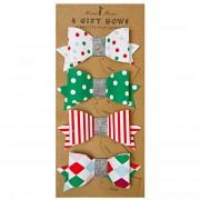 4 Noeuds Etiquette cadeau Rouge/Vert
