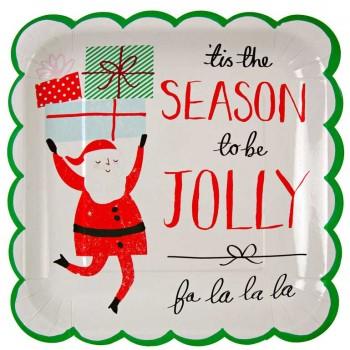 12 Grandes assiettes Jolly Père Noël