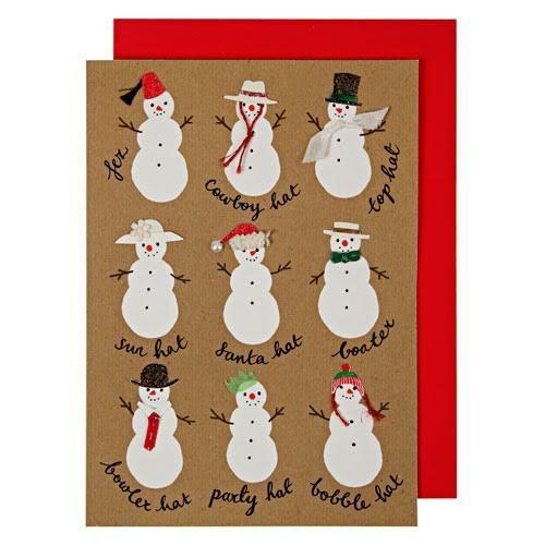 1 Carte de Voeux Bonhommes de Neige pour l'anniversaire de votre