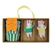 Kit 24 Caissettes et Déco à Cupcakes Funny Bunnies