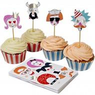 Kit 24 Caissettes et Déco à Cupcakes Portraits Rigolos